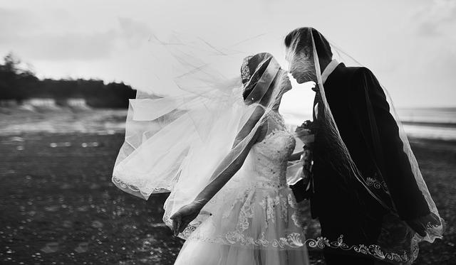 ženich s nevěstou – černobílá fotografie, polibek v přírodě