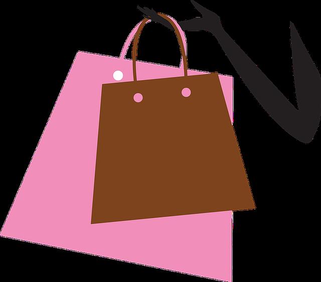 kreslená paže držící nákupní tašku