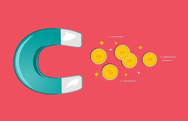 magnet přitahuje peníze, ilustrace